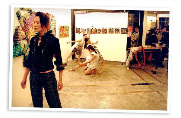 Exhibition veiw with a Fashion performance by William Tang.