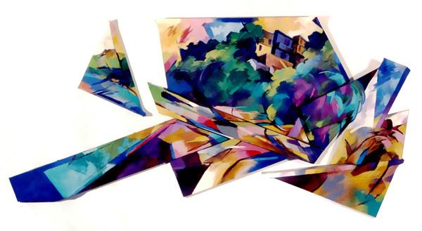 Forward and across 1998. 210x108cm wood canvas oil paint