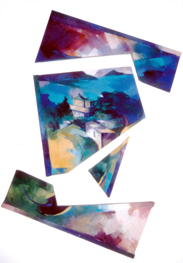 Towards sai wan 1980. 90x110cm. wood canvas acrylic paint